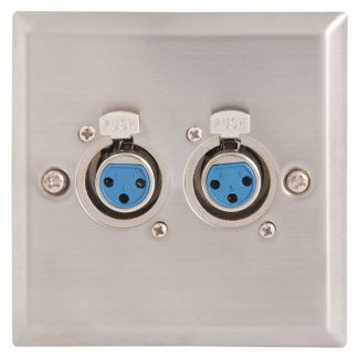 122.317 twin XLR-F female sockets on single gang wallplate
