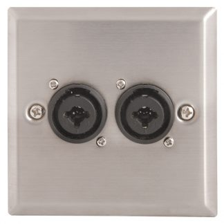 122.323 twin jack / XLR-F female combination sockets on single gang wallplate