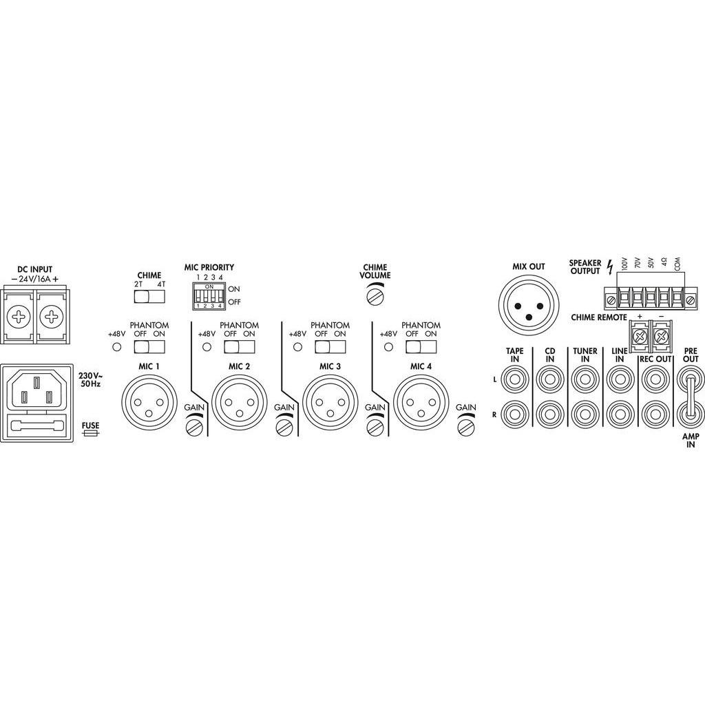PA-924 240w 100v line mixer amplifier