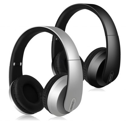 av:link SFBH1-SLV silver and SFBH1-BLK black satin finish Bluetooth headphones with dynamic bass
