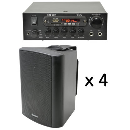 BGM-50 25 + 25 watt Bluetooth stereo background music system with four black cabinet speakers