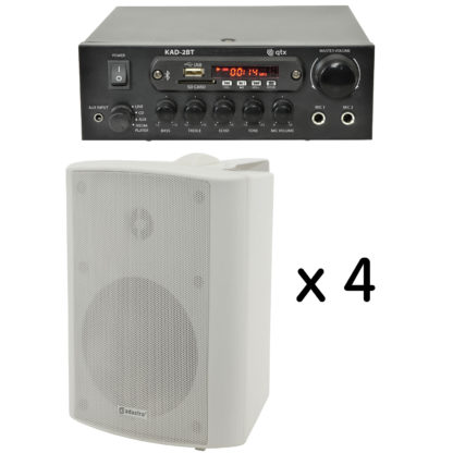 BGM-50 25 + 25 watt Bluetooth stereo background music system with four white cabinet speakers