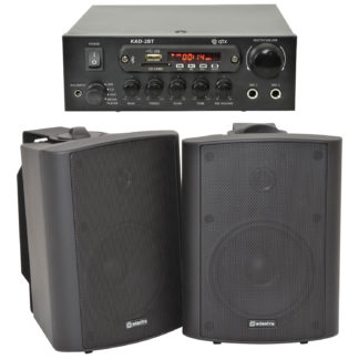 BGM-50 25 + 25 watt Bluetooth stereo background music system with black cabinet speakers