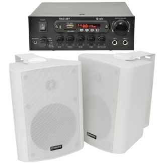 BGM-50 25 + 25 watt Bluetooth stereo background music system with white cabinet speakers