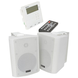 Adastra WA-210SET in-wall Bluetooth amplifier system with two white cabinet speakers