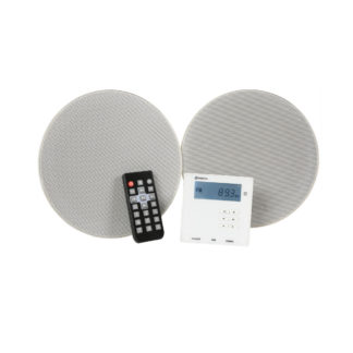 Adastra WA-210SET in-wall Bluetooth amplifier system with two white ceiling or cabinet speakers