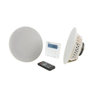 Adastra WA-210SET in-wall Bluetooth amplifier system with two white ceiling speakers