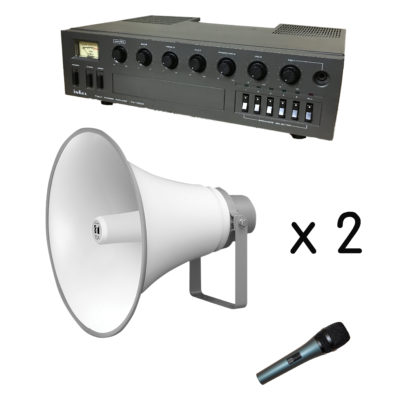 60w outdoor PA sound system with 2 Toa horn speakers, a cabled dynamic microphone and 100m reel of 100v line speaker cable - used