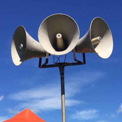 used horn speakers are 50cm units by Toa and although marked are perfectly serviceable