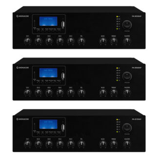 Monacor PA-800DAP Series 100v line mono class D PA mixing amplifiers, with integrated MP3 player, FM/DAB+ tuner and Bluetooth