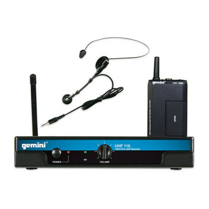 Gemini UHF-116HL bodyworn wireless microphone system with clothing clip microphone and headset adaptor