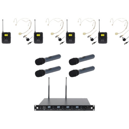 DQM 800-8 UHF Ch 70 quad radio microphone system with 4 x handheld transmitters and 4 x bodyworn radio microphone transmitters (please note that only a maximum of 4 transmitters will be able to be used at one time)
