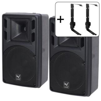 PSR 8 black 120w 8 ohm speakers (pair) + two black wall brackets