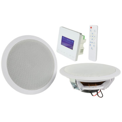 Adastra WA-215 in-wall Bluetooth amplifier supplied separately or as a system with two white ceiling or cabinet speakers