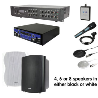 """COMM-400 community hall sound system with 6-8 x 8"""" or 10"""" speakers, amp, mic etc. and induction loop system"""