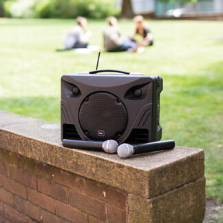 QTX DELTA-50 portable PA system with Bluetooth and handheld wireless microphones