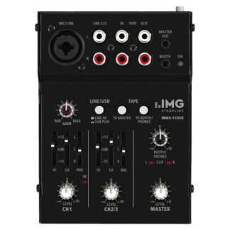 IMG Stageline MMX-11USB 2 channel miniature audio mixer with 3 inputs and USB interface