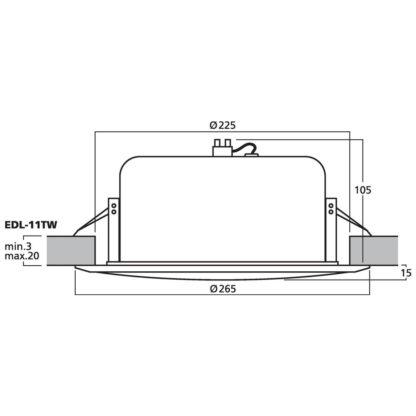 Monacor EDL-11TW & EDL-11TW/SW 100v line PA ceiling speaker
