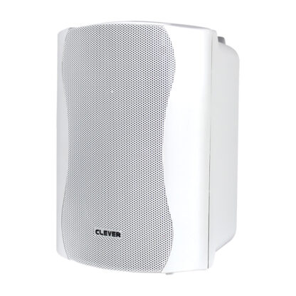 "Clever Acoustics WPS 35T pair of 5"" 35w RMS 100v line weatherproof wall cabinet speaker in white finish"