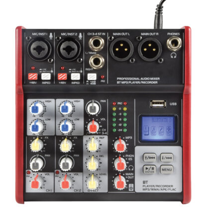 Citronic CSM-4 2 mono, 1 stereo input mixer with USB & Bluetooth