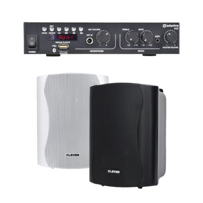 BGM-50 25 + 25 watt Bluetooth stereo background music system with black or white cabinet speakers