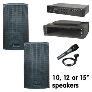 """COMM-200 200w portable sound systems for village and school halls and smaller community centres and is supplied ready for you to use - includes a 100w per channel stereo mixer amplifier with Bluetooth and integral USB and SD card MP3 media player. Each system is supplied with a pair of 10"""" or 12"""" high power speakers, speaker cables etc. and a cabled microphone"""