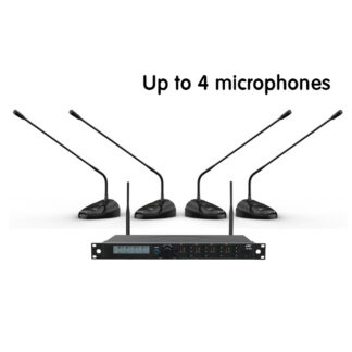 JTS CS-W4 Series wireless conference set with 4-channel wireless conference receiver and up to 4 desktop wireless conference microphones