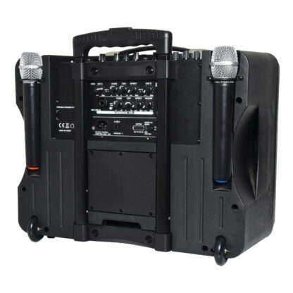 QTX DELTA-200 portable PA system with Bluetooth and handheld wireless microphones